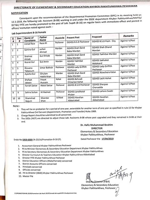Notification of Promotion of Lab Assistants Khyber Pakhtunkhwa