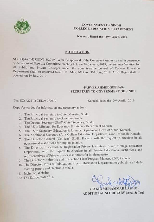 Notification of Summer Vacation 2019 College Education Department Sindh
