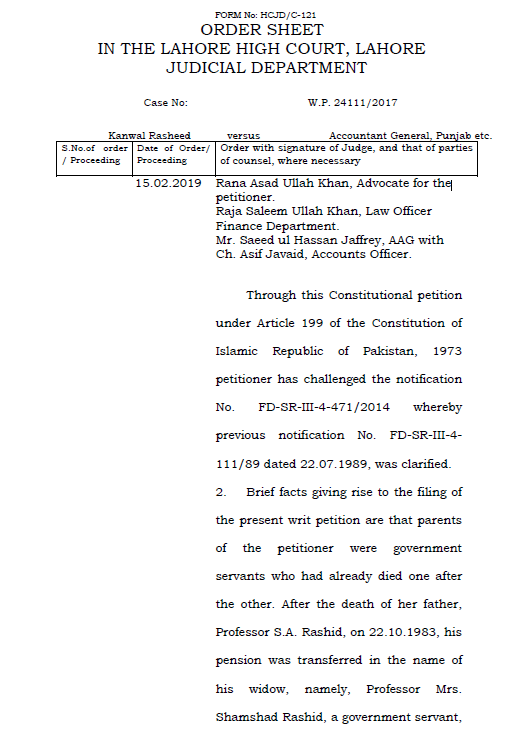 Judgment of LHC Lahore declaring Unmarried Daughter Entitled to Two Family Pensions of Deceased Parents Simultaneously