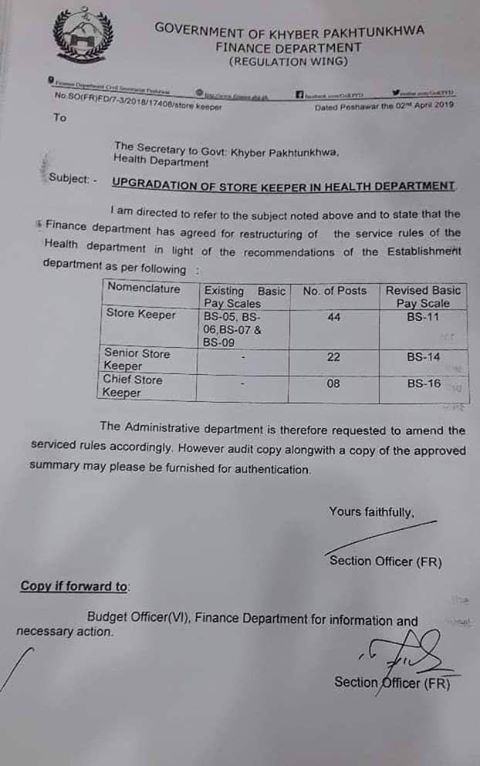 Re-Structure Service Rules & Upgradation of Store Keeper in Health Department
