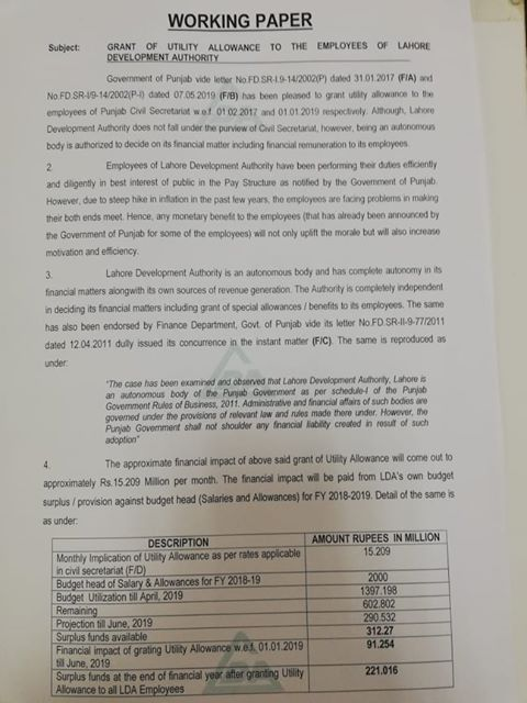 Grant of Utility Allowance to the Employees of LDA