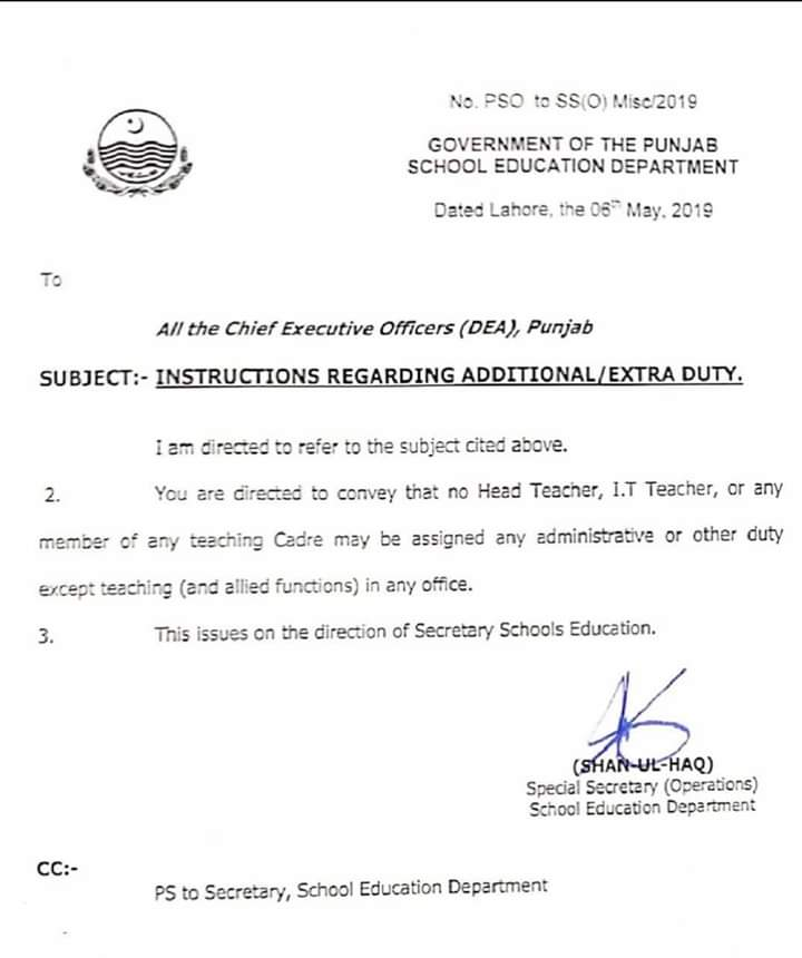 Notification of Instructions Regarding Additional / Extra Duty