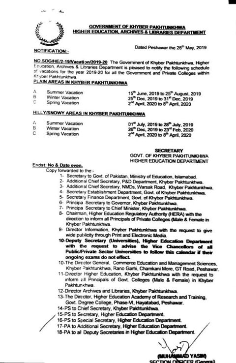 Notification of Summer Vacation 2019 and Winter Vacation Higher Education, Achieves & Libraries Department KPK