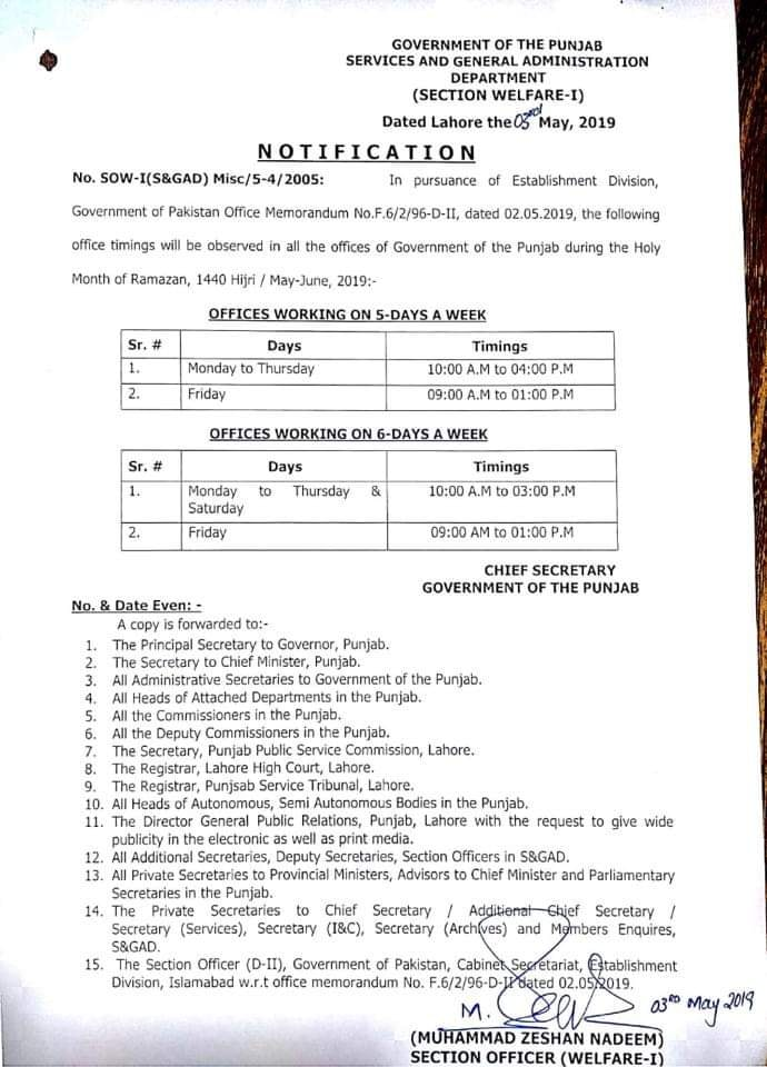 Notification of Office Timings Punjab during Holy Month Ramazan 2019