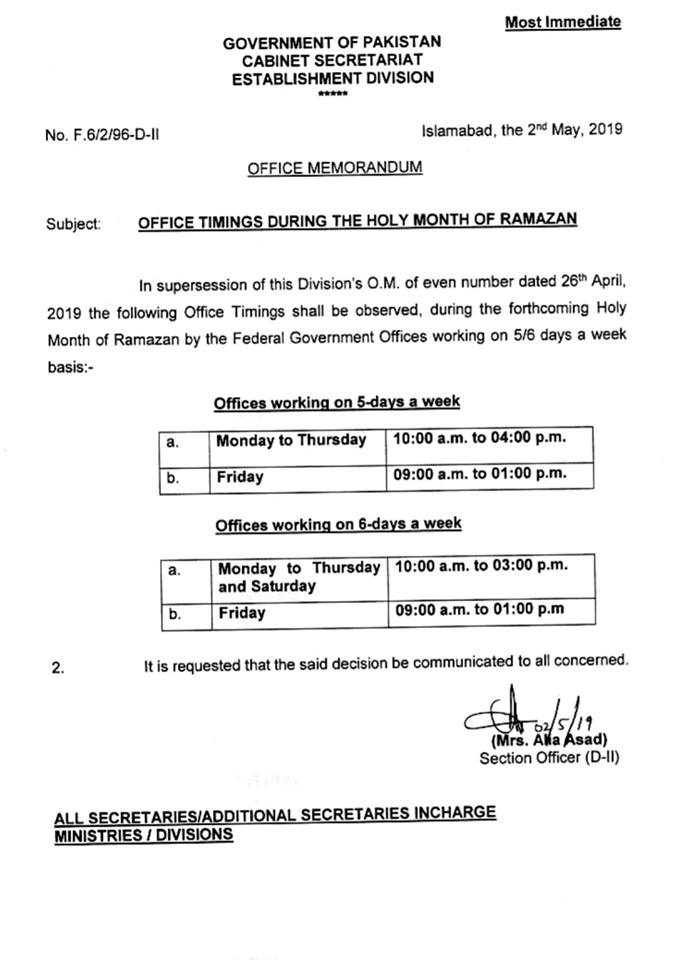Office Timings Ramzan 2019