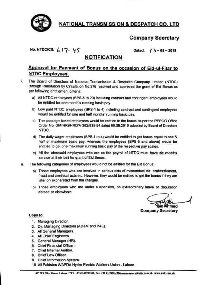 Approval of Payment Bonus on Eid-ul-Fitr 2019 to NTDC Employees