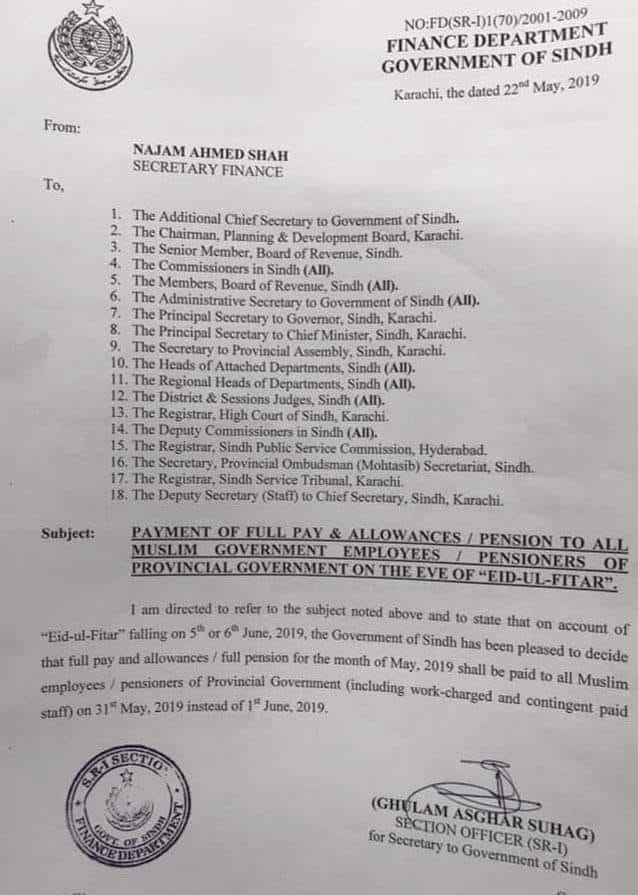 Payment of Full Pay & Allowances / Pension by Sindh Government on the Eve of Eid-ul-Fitr