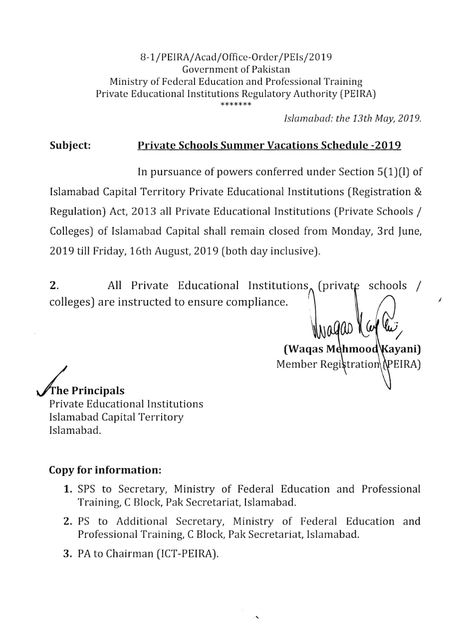 Notification of Private Schools Summer Vacations Schedule 2019