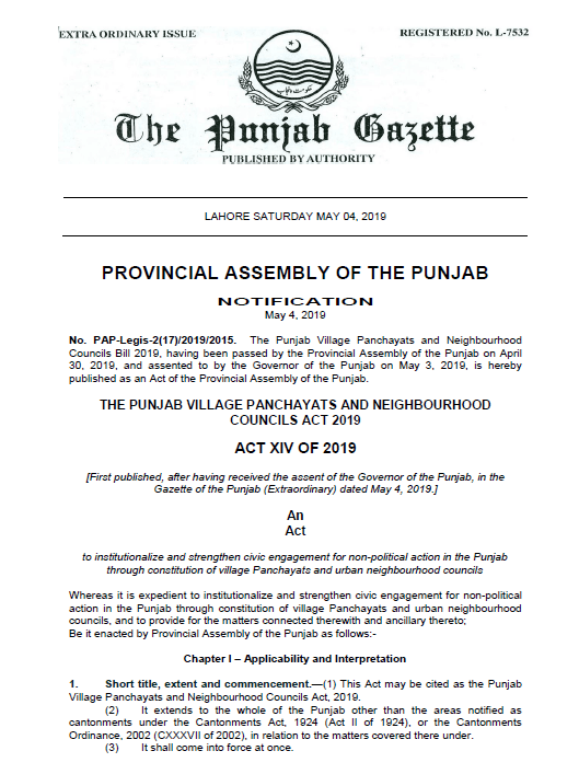 Punjab Village Panchayats and Neighbourhood Councils Bill 2019