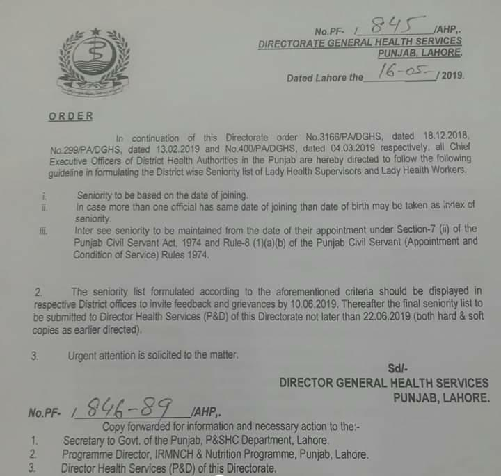 Guidelines in Formulating Seniority List of Lady Health Workers and Lady Health Supervisors