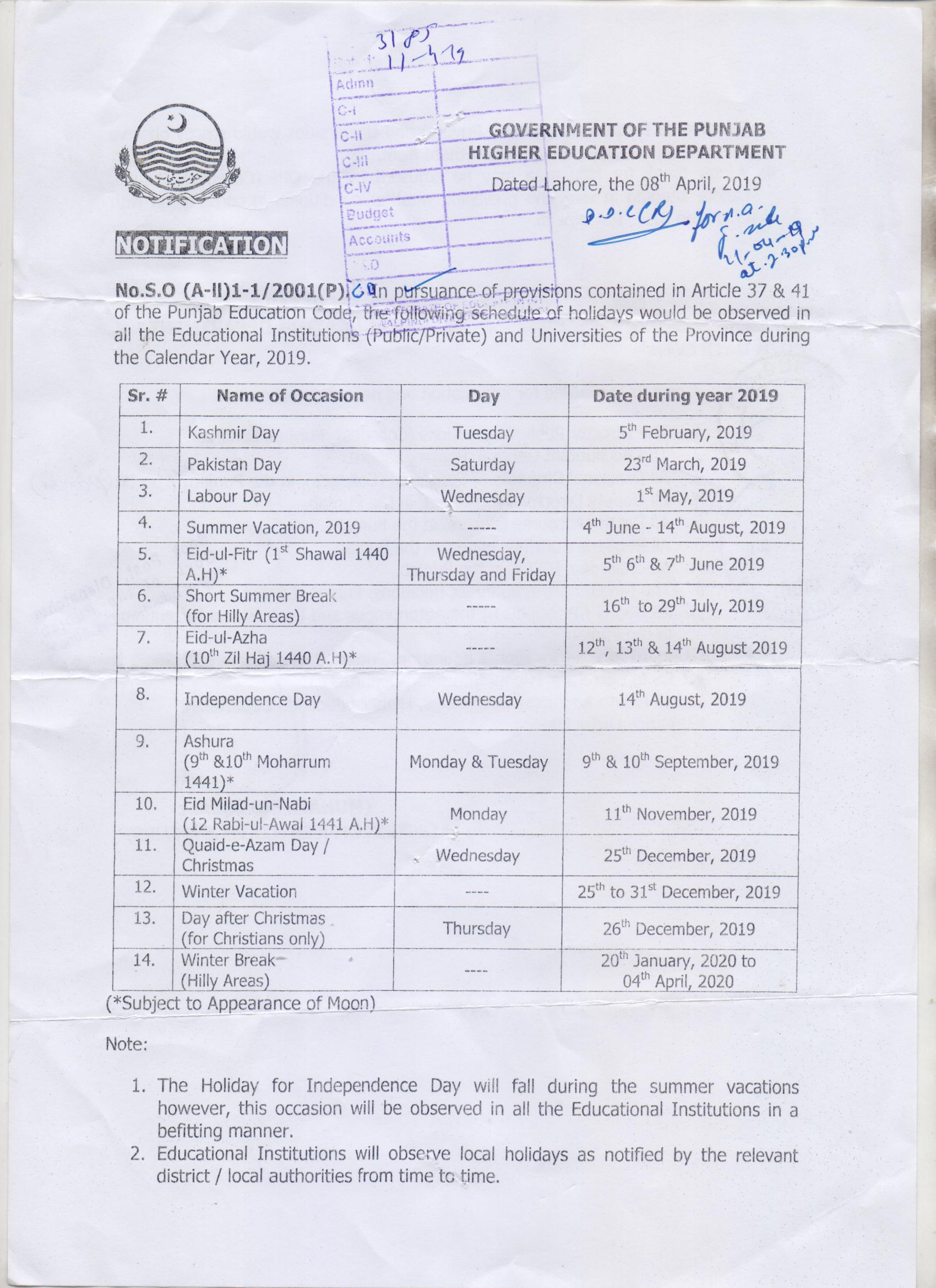 Notification of Summer Vacation 2019 Punjab and Other Holidays 2019