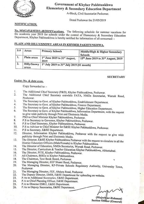 Notification of Schedule of Summer Vacations for KPK Schools 2019