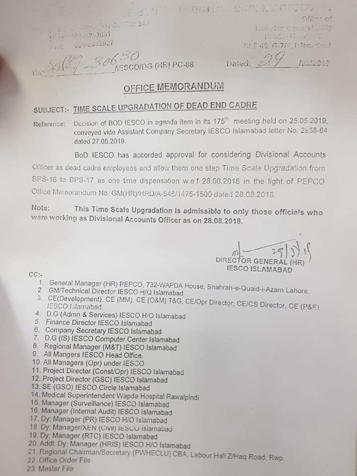 Notification of Time Scale Upgradation of Dead End Cadre – IESCO