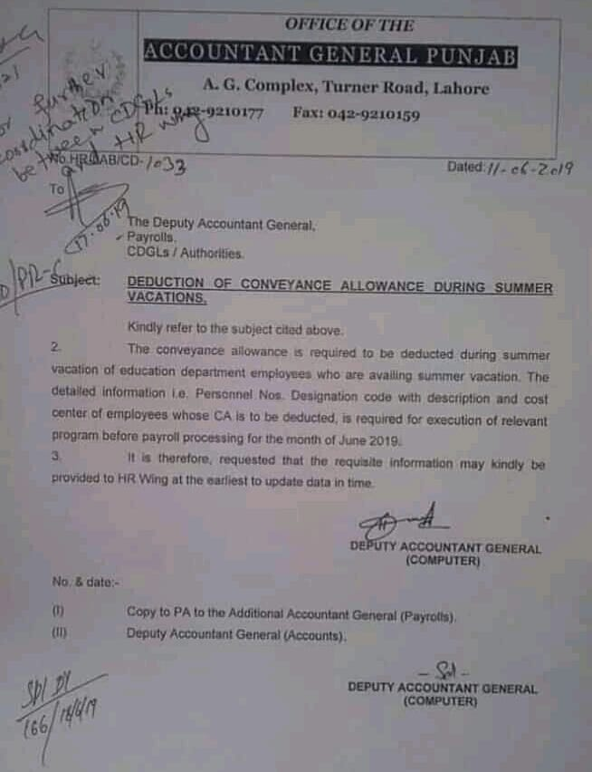 Conveyance Allowance Punjab Employees Deduction during Summer Vacations