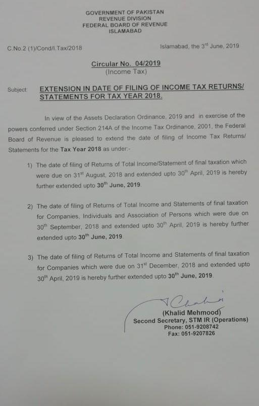 Extension in Date Filing Income Tax Returns upto 30th June 2019