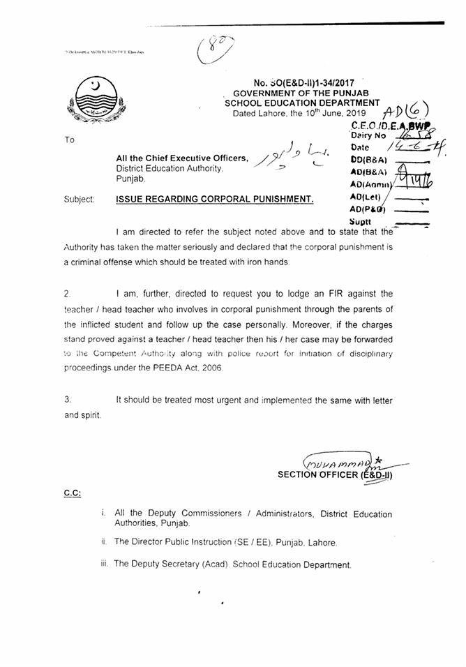 Notification of FIR against Teacher Who Involves Corporal Punishment