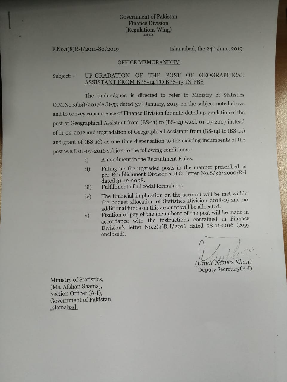 Notification of Upgradation of the Post of Geographical Assistant