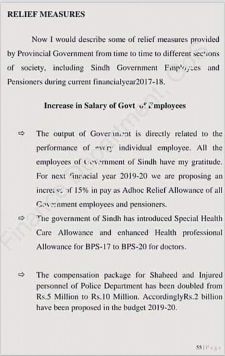 Increase Salary Sindh Govt Employees 15% in Budget 2019-20