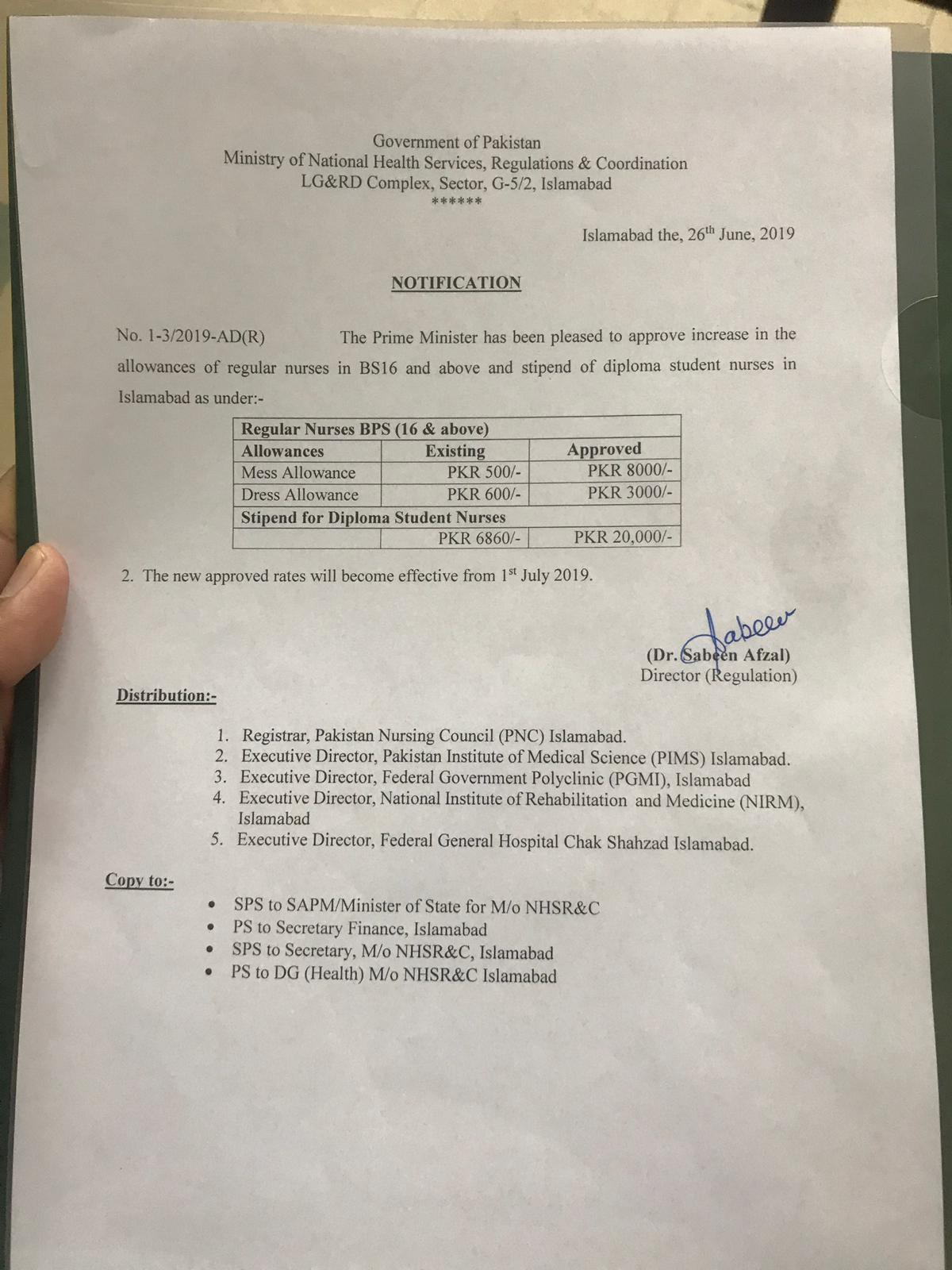 Notification of Increase Dress Allowance & Mess Allowance and Stipend of Diploma Student Nurses