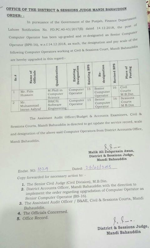 Redesignation & Upgradation Computer Operator as Senior Computer Operators
