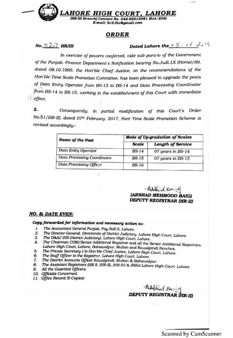 Notification of Upgradation Data Entry Operators LHC from BPS-13 to BPS-14