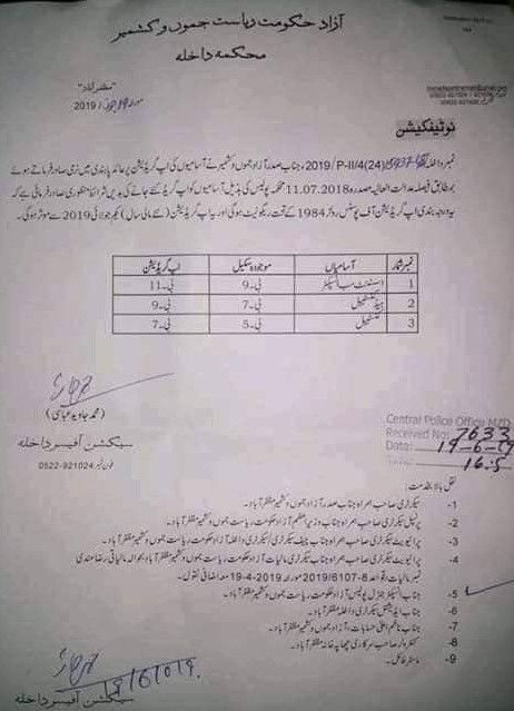 Upgradation of Police Employees of Azad Government of Jammu & Kashmir