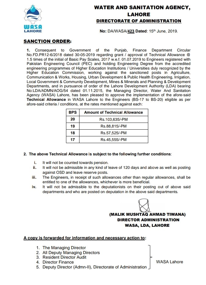 Notification of WASA Employees Technical Allowance