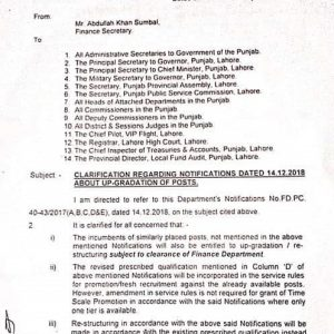 Clarification Notifications Dated 14-12-2018 about Upgradation of Posts
