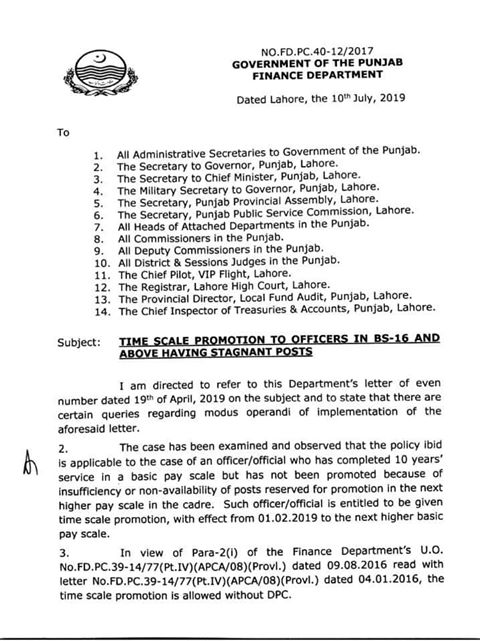 Clarification Time Scale Promotion BPS-16 & Above Officers Punjab