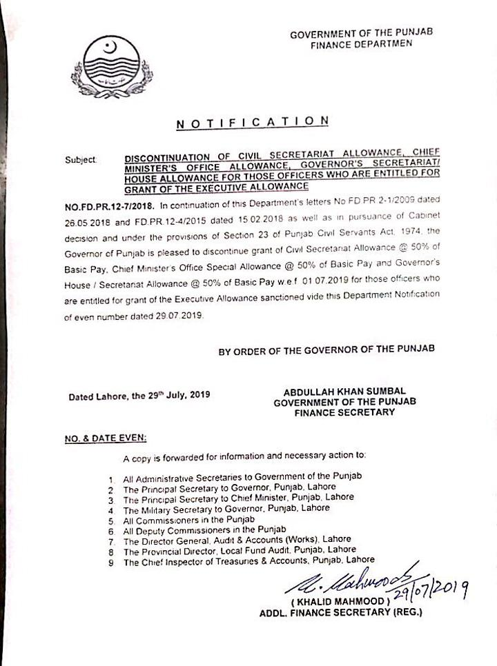 Notification of Discontinuation Civil Secretariat Allowance, Chief Minister's Office Allowance, Governor's Secretariat / House Allowance for those who Entitled Executive Allowance