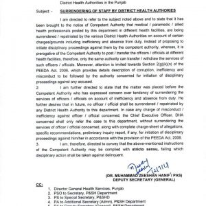 Surrendering of Staff by District Health Authorities