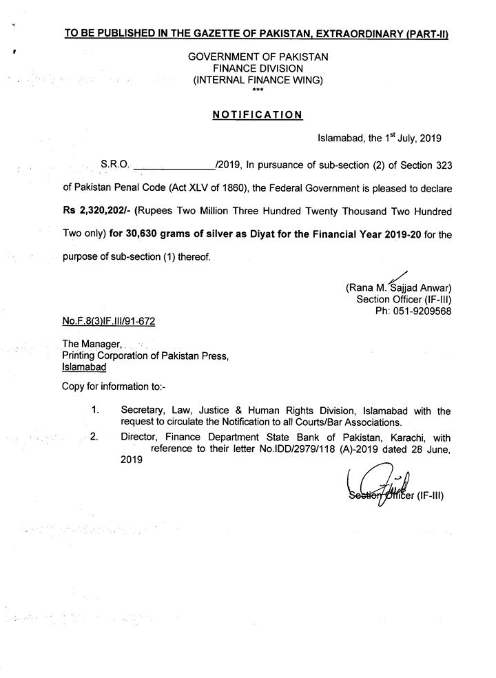 Notification of Diyat for Financial Year 2019-20