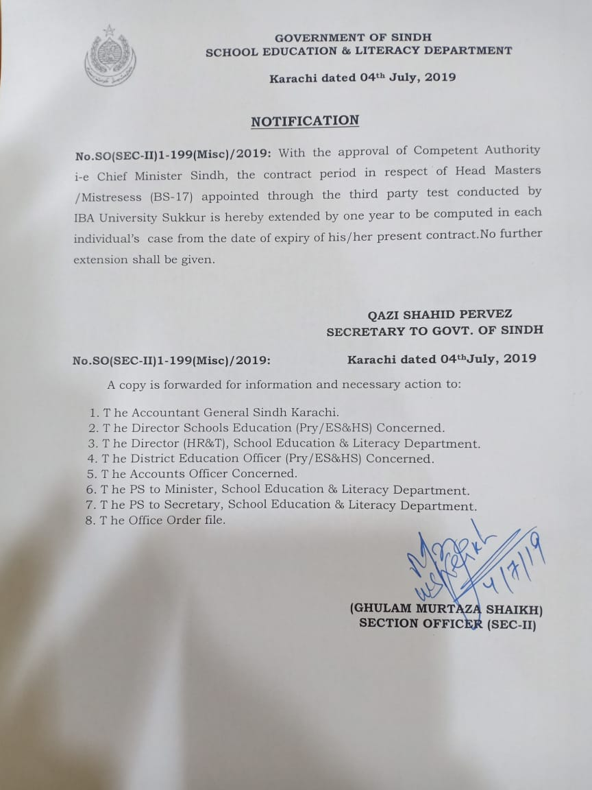Notification of Extension Contract Period One Year of Headmasters / Mistresses BPS-17