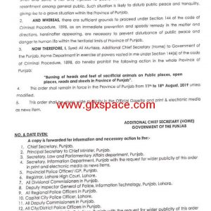 Notification of Prohibition Burning Heads and Feet of Sacrificial Animals on Public Places