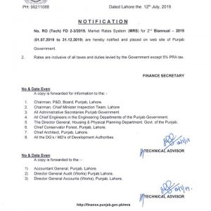 Notification of Market Rates System (MRS) by Finance Department Punjab