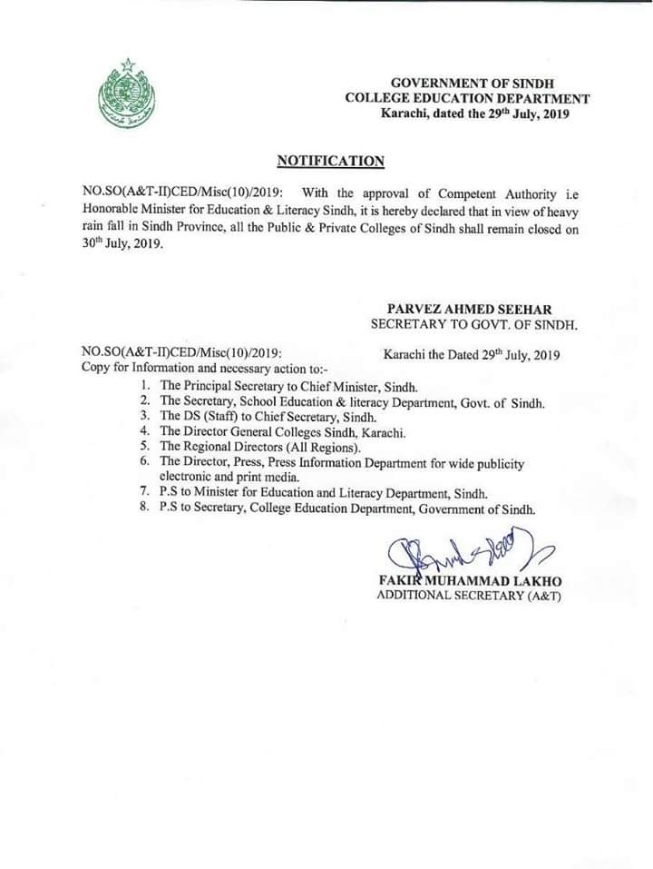 Notification of Holiday in Sindh Colleges
