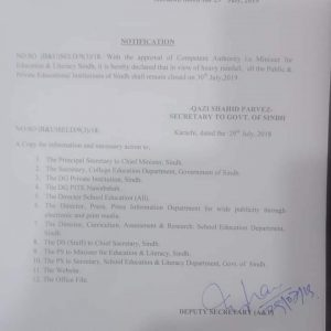 Notification of Holiday in Sindh Schools & Colleges on 30-07-2019 Due to Heavy Rain Fall