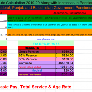 Revised Pension Calculator 2019-20 for Federal and Provincial Govt Pensioners