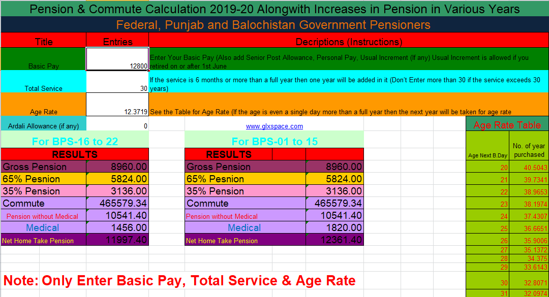 Pension Calculator 2019-20