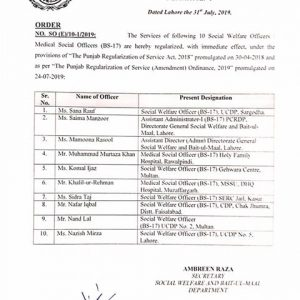 Notification of Regularization Social Welfare Officers as per Punjab Regularization of Services (Amendment) Ordinance 2019