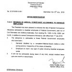 Notification of Revision Special Conveyance Allowance 2019 to Disabled Employees