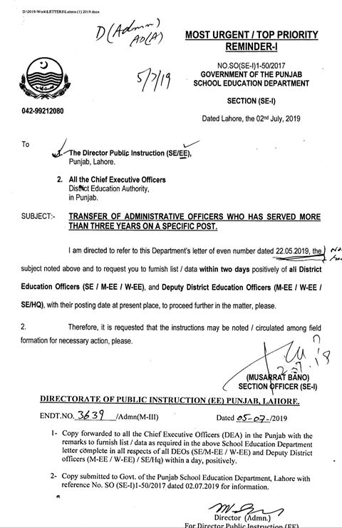 Transfer of Administrative Officers