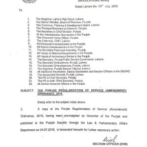Further Updates the Punjab Regularization of Services (Amendment) Ordinance 2019