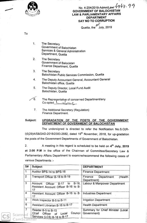 Upgradation of Govt Department Posts in Balochistan