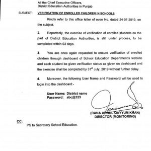 Notification of Verification Enrolled Children in Schools