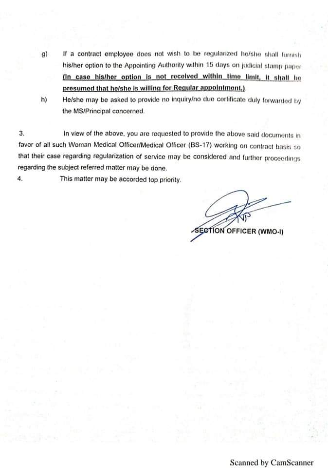 Regularization Medical Officers
