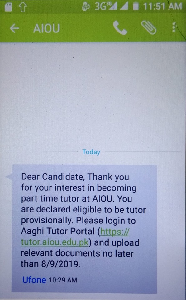 AIOU Tutorship Successful Candidates 2019
