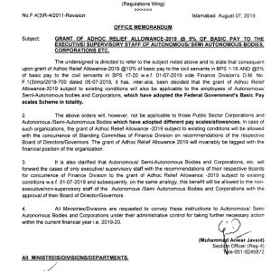 Grant of ARA-2019 @ 5% to Supervisory / Executive Staff