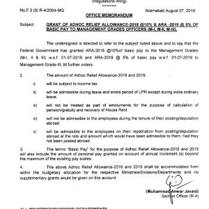 Notification of ARA-2018 & ARA-2019 to Management Grade Officers
