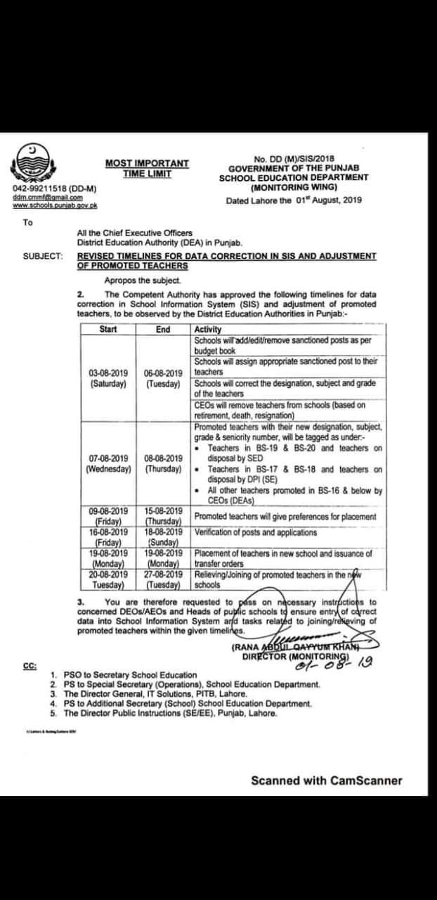 Revised Timelines for Data Correction in SIS and Adjustment of Promoted Teachers